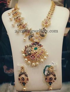 Jewellery Designs: Unique Peacock Uncut Diamond Set