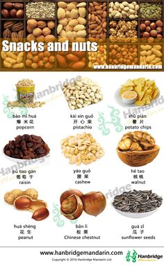 Chinese vocabulary of sancks and nuts, 花生吃了润肺,对身体好。huā shēnɡ chī le rùn fèi , duì shēn tǐ hǎo 。