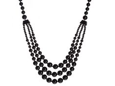 30 inch #BlackJasper Gemstone #Necklace  This 30 inch, 3-tier, Black Jasper (form of quartz) Gemstone Necklace can easily go from day to night and with every outfit in your wardrobe.  Comes in a felt lined necklace box. Makes a perfect gift. Only $24.99.  FREESHIPPING