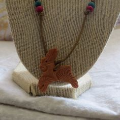 Terracotta Clay Bunny Diffusing Necklace/Natural Air Freshener for Car or Room