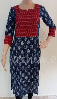 Code:1111164 - Cotton Kurti with Ikkat Yoke, Price INR:1290/-