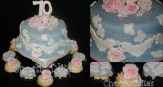 Vintage cake and cupcakes: Vintage style with fondant lace accents, roses and pearls - such a pretty cake for a birthday celebration! 70th Birthday, Birthday Celebration, Fondant Lace, Vintage Style, Vintage Fashion, Cupcake Cakes, Cupcakes, Pretty Cakes, Wedding Cakes