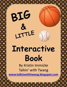 This freebie is for use with working on big-little. It contains pages for practicing big-little in 3 levels of difficulty. I use this book with my speech therapy students. It can also be used with ELL, special education, and preschool students. The concepts of big-little are the main focus, but you can also use it to work on vocabulary, sentences, and wh-questions.