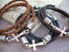 Leather Bracelet Cross Bracelet Cross by UrbanSurvivalGearUSA, $26.99