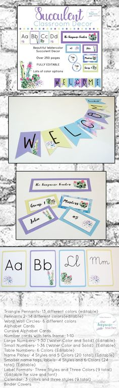 Watercolor Succulent Cactus Classroom Decor Theme | Fully Editable This set comes with so many different colors and styles for you to customize your classroom ( over 250 pages! ). All templates come in an editable format to make your own names tags, locker tags, labels, signs, class posters, banners and more! Mix water color and solid colors together to make a classroom uniquely you.