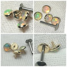 1-2X 16G Opal Gold Steel Nose Septum Clicker Daith Helix Tragus Ring Nipplerings
