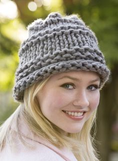 Free Knitting Pattern for One Skein City Chic Hat - This easy hat only takes one skein of yarn and is a quick knit in super bulky yarn. Designed by Nancy J. Crochet Mittens, Knitted Hats, Knit Crochet, Crochet Hats, Knit Hat Pattern Easy, Knitted Headband Free Pattern, Loom Knitting, Knitting Patterns Free, Free Knitting