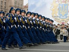 Ukrainian Air Force cadets of the Ivan Kozhedub Air Force University marching through Kiev's Khreshchatyk Main Street in the 2009 Ukrainian Independence Day Parade.