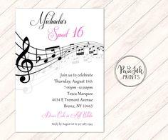 pixieink prints pixieinkprints on pinterest Blue Birthday Invitations music notes invitation musical party sheet music invitation