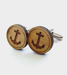Anchor Cufflinks - Bamboo - Wood Cufflinks - Gifts Under 25 - Wedding - Groom - Groomsmen - Rustic Wedding - Modern Wedding Nautical Wedding, Rustic Wedding, Groom And Groomsmen, Groomsmen Cufflinks, Groomsmen Outfits, Wedding Cufflinks, Groomsman Gifts, Groom Gifts, Gifts For Dad
