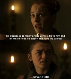 and this is when we decided that Arya was awesome - Game of Thrones - Sansa Stark - Arya Stark
