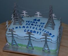 Transmission Lines Cake - retirement cake 4 - slabs carrot cake Transmission Line Cake Palestine Art, Palestine History, Retirement Cakes, Retirement Parties, Fondant Cakes, Cupcake Cakes, Cupcakes, Lineman Love, Fathers Day Cake