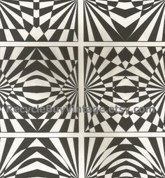 vintage 1970's optic illusion pattern art print book plate black & white pop art design retro home decor mod geometric picture wall 85 86 by RecycleBuyVintage on Etsy