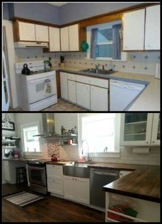 White shaker cabinets, butcher block counters, stainless steel appliances