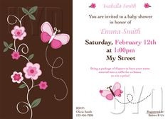 Custom Invitation for Baby Shower or Birthday Party, Butterfly Theme. $15.00, via Etsy.