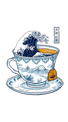 The Great Kanagawa Tee Acrylic Box by Vincent Trinidad Art - 4 X 4 X 3 Pez Koi Tattoo, Stylo Art, Tee Kunst, Hxh Characters, Graphic Tank Tops, Japon Illustration, Poster Art, Tea Art, Japanese Art