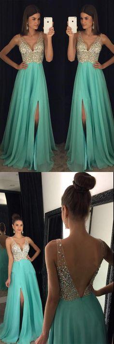 Beaded V Neck Open Back Long Chiffon Prom Dresses With Leg Slit PG375