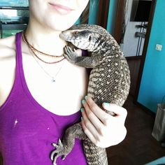 Reptiles may not look like your typical 'cute pet' material, but this lovely lizard is here to prove that theory wrong. The savannah monitor loves snuggles - his bath time is just awwe and he rocks tiny outfits!