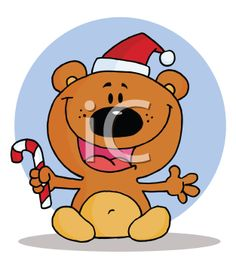 Royalty Free Clipart Image of a Bear With a Candy Cane