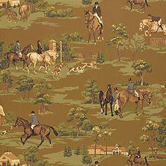 Thibaut Castle Pine - Equestrian - Wallpaper - Brown