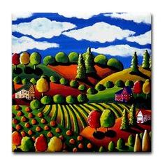 Fall Day Folk Art Tile Coaster