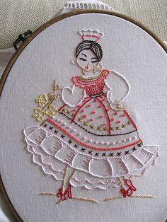 Fabulous Spanish senorita stitchery. #crafts #stitchery #needlework