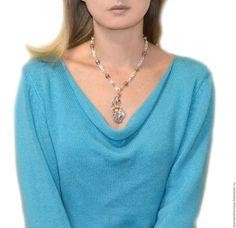 Купить Колье серебряное Перо жар-птицы (серебро 925, эфиопские опалы, медь)