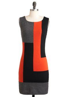 Welcome Backstage Dress - Jersey, Mid-length, Orange, Black, Grey, Party, Colorblocking, Sheath / Shift, Sleeveless