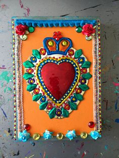 Large colorful Mexican tin sacred heart on by TheVirginRose