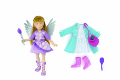 NEW! Kruselings Chloe Doll Deluxe Set. Chloe has red hair and green eyes. She wears a purple sparkling magic dress, shoes, wings and her magic paint brush. Her workaday outfit is a dotted dress, a parka, boots and a pink bag and she comes with her own hair brush. This 23 cm doll is made of high-quality vinyl, movable joints and lifelike glass eyes.