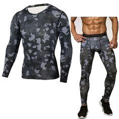 Men's Quick Dry Activewear Long Sleeve Print Camouflage Shirt + Pants Set 15 Designs