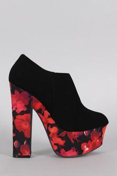 Dollhouse Round Toe Floral Print Platform Heeled Booties – Style Lavish