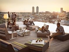 A hip outdoor oasis high above the rooftops of Barcelona, Grand Hotel Central's Sky Bar sports a 10-meter infinity swimming pool with dazzling views over the city's astonishing monuments. The trendy rooftop bar comes with its own resident DJ and serves a variety of international cocktails along with gourmet desserts fashioned by local chef Mey Hofmann.