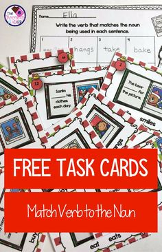 Spread a  little holiday cheer with these task cards that are perfect for your first grade students!  This activity includes 12 task cards with a sentence written on it.  The sentence is missing the verb.  Students will determine the verb by whether the noun being used is singular or plural.  This is a wonderful activity for a literacy center.  This is FREE!