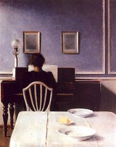 Interior with a Girl at the Clavier by Vilhelm Hammershøi, 1901.
