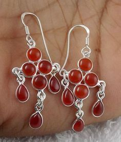 925 Sterling Silver Natural Red Onyx Cabochon Gemstone Hanging Womens Earring