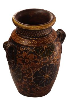 "Bulk Wholesale Handmade 9"" Dark Brown Colored Flower Vase in Terracotta Decorated with Cone-Painting Art in Traditional-Look Motifs & Flowers in Golden & Green Color – Antique-Look Vases from India"