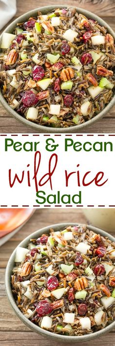 This Wild Rice salad is loaded with juicy pears, crunchy pecans, sweet craisins and is melded together with a honey vinaigrette dressing.: