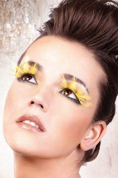 Paradise Dreams - Yellow Feather Eyelashes 640 - Baci EyelashOnline retailer of dance accessories, ballroom dance supplies and discount dance supply Lingerie Accessories, Women's Accessories, Dance Supplies, Feather Eyelashes, Yellow Feathers, Yellow Boots, Yellow Fever, Lash Glue, False Lashes