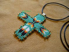 Square stitch beaded Native ... from DebsVisions on Wanelo