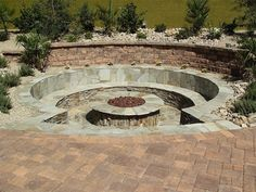 Sink ItRound Stone Sunken Benches Gas Fire Pit Newtex Landscape Inc. Henderson NV - Fire Pit - Ideas of Fire Pit Fire Pit Seating, Fire Pit Area, Diy Fire Pit, Fire Pit Backyard, Backyard Seating, Outdoor Seating, Sunken Patio, Sunken Fire Pits, Sunken Garden