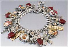 Red Heart Gingerbread Man Charm Bracelet by BlackberryDesigns