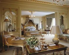 elegant french master bed crowns | typical French Neo-Classical Bedroom/lounge. This furniture is ...