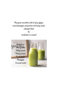 This green smoothie is perfect for breakfast or a snack! Hemp protein powder is a high-quality plant-based protein that contains 20 amino acids — the building blocks of protein. #hempprotein #hempproteinpowder #smoothie Pineapple Coconut, Coconut Water, Hemp Protein Powder, Cannabis Plant, Plant Based Protein, Hemp Seeds, Fresh Ginger, Amino Acids, A Food