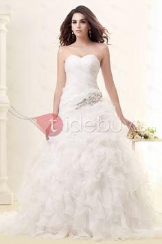 Pretty A-line Sweetheart Sleeveless Floor-length Chapel Ruffles Taline's Wedding Dress : Tidebuy.com