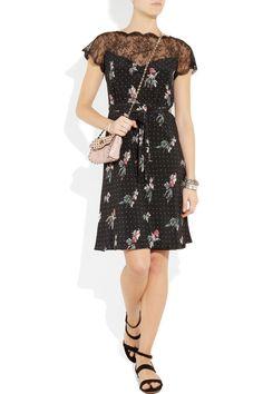 Valentino|Lace detail crepe de chine dress|NET-A-PORTER.COM