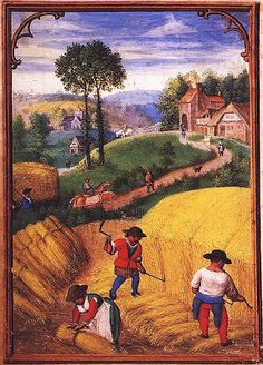 Harvesting cereal crops: a symbol of summer; 'The Labours of the Month of August',  a miniature by Simon Bening from a  sixteenth-century Flemish book of hours  (München, StB, cod. lat. 23638, fol. 9v). (Seeing Symbols)