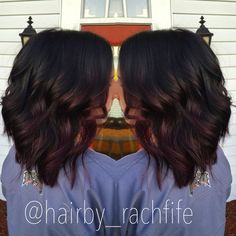 Deep burgundy ombre. Short hair long bob. Purple hair. hair by Rachel Fife @ SF Salon