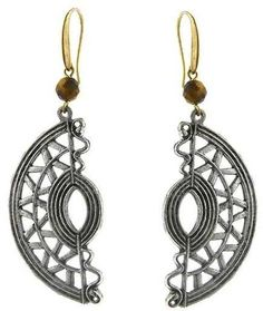 Ice Half Moon Native American Motif with Semi-Precious Tiger's Eye Bead Earrings #CommissionLink