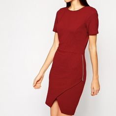 """ASOS red asymmetrical body con cocktail dress 0 Size US 0 UK 4. Similar to XS. For reference I am 5'6"""" 125 lb and as you can see the dress fits ok but is too small for me in the hips. Only worn once, like new. No trades ASOS Dresses Mini"""